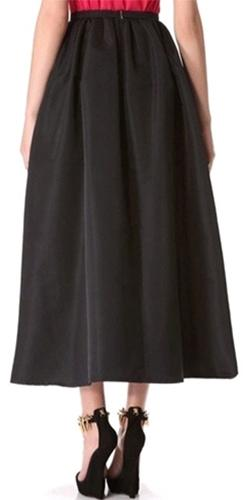 Black Pleated A Line Flare Ball Gown Midi Skirt