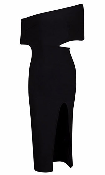 Head Of The Class Black Asymmetric Off The Shoulder Cut Out Side High Slit Bodycon Bandage Midi Dress- SOLD OUT