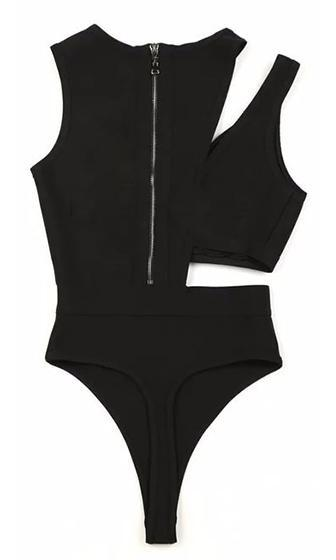 Fantastic Voyage Black Sleeveless Cut Out Asymmetric Bandage Thong Bodysuit - Sold Out