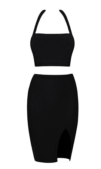 Break The Internet Black Sleeveless Halter Crop Side Slit Two Piece Bandage Bodycon Midi Dress - Sold Out