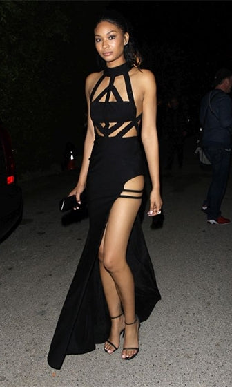 Take It In Black Sleeveless Mock Neck Cut Out High Slit Bandage Bodycon Maxi Dress