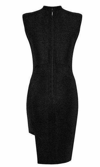 Raise The Bar Black Sleeveless Mock Neck Cut Out Plunge V Neck Bodycon Bandage Midi Dress - Sold Out