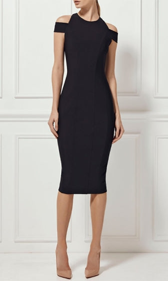 Into My Soul Black Off The Shoulder Scoop Neck Bodycon Bandage Midi Dress - Sold Out