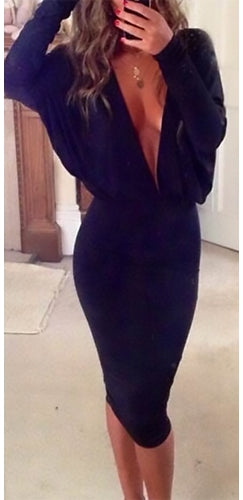 1e0c46a4d5 Sultry Vixen Black Long Batwing Sleeve Plunge V Neck Midi Dress - Sold Out