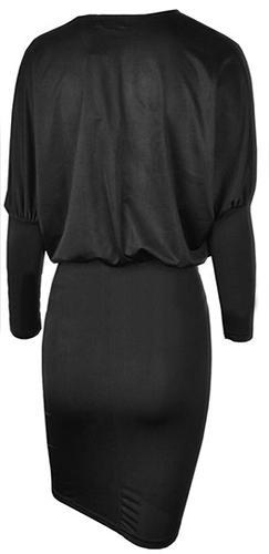Sultry Vixen Black Long Batwing Sleeve Plunge V Neck Midi Dress - Sold Out