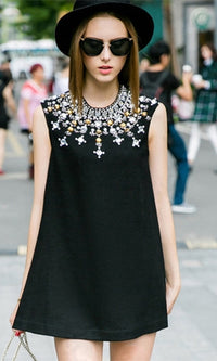 Living For The City Black Gold Silver Sleeveless Scoop Neck Beaded Jeweled A Line Mini Shift Dress - Sold Out