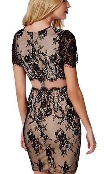 Hide Your Love Black Beige Sheer Mesh Lace Short Sleeve Scoop Neck Cut Out Bodycon Mini Dress - Sold Out