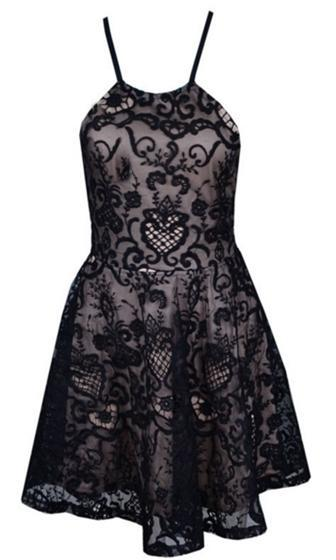Swan Lake Black Beige Lace Spaghetti Strap Crisscross Tie Back Halter Skater Circle A Line Flare Mini Dress - Sold Out