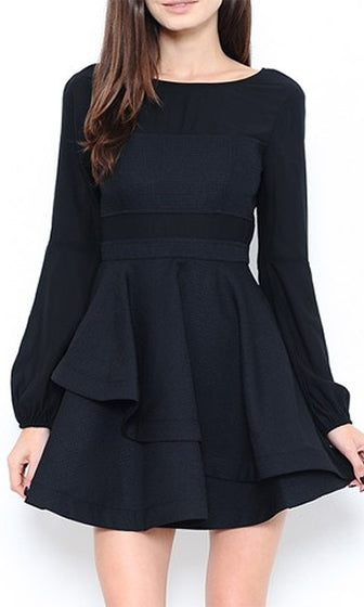 Family Pictures Black Long Bishop Sleeve Sheer Panel Cut Out Skater Circle A Line Flare Mini Dress - Sold Out
