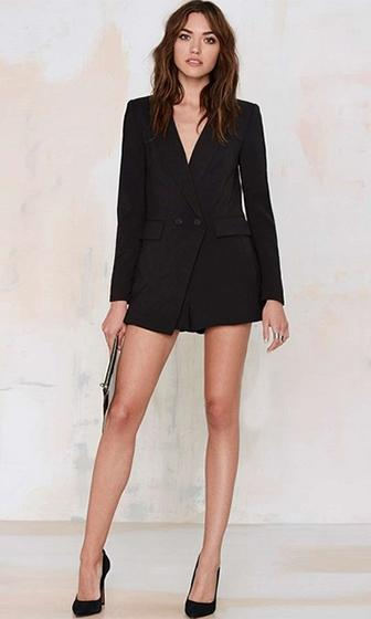 How Will I Know Black Long Sleeve Plunge V Neck Blazer Jacket Short Romper - Sold Out