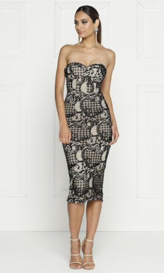 High Roller Black Beige Lace Strapless Bustier Bodycon Midi Dress - Sold Out