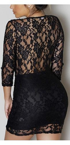 Feel This Moment Black Scallop Sheer Lace 3/4 Sleeve Plunge V Neck Bodycon Mini Dress- Sold Out