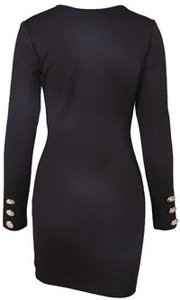 Live And Let Live Black Silver Long Sleeve Plunge V Neck Button Bodycon Mini Dress - Sold Out
