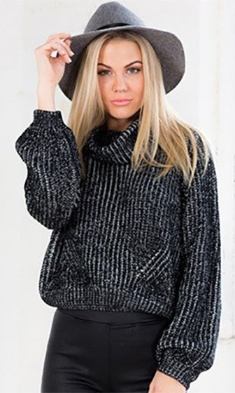 Fireside Lounge Black Cowl Neck Long Sleeve Crop Pullover Sweater - Sold Out