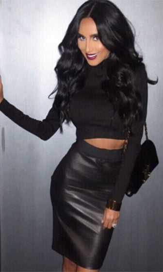 Carry On Black Long Sleeve Mock Neck Crop Top Faux Leather Pencil Midi Two Piece Dress - Sold Out