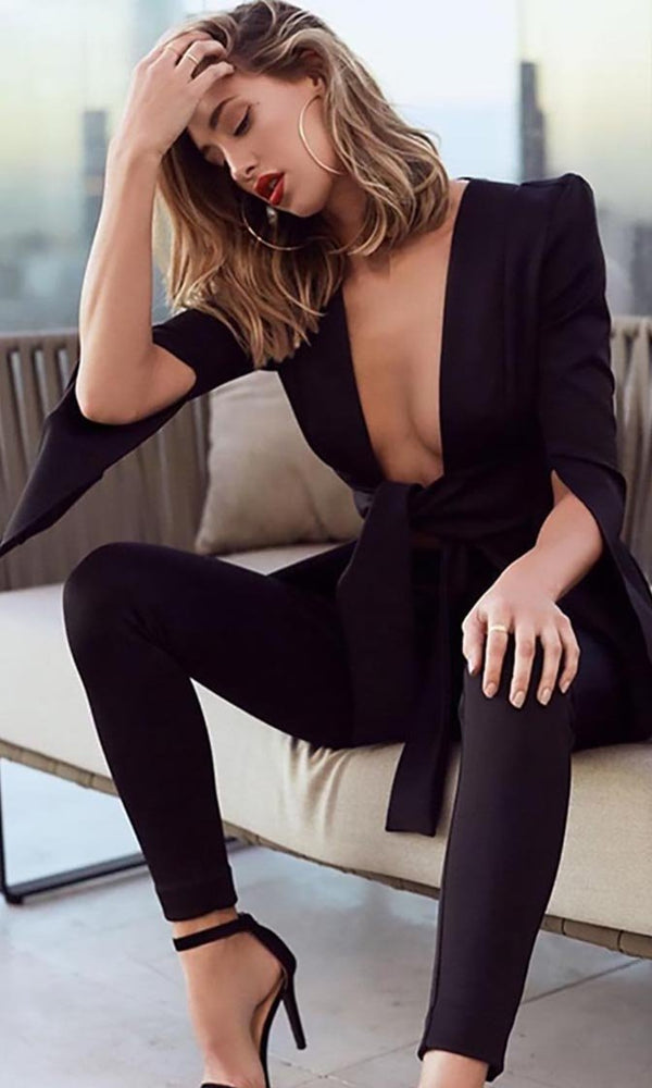 Cali Queen Black Long Flare Sleeve Plunge V Neck Cut Out Back Jumpsuit