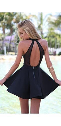 Swing Me Around Black Cut Out Halter Skater Circle A Line Flare Mini Dress - Sold out