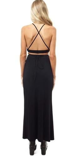 Crossing Lines Black Spaghetti Strap Scoop Neck Crisscross X Back Cut Out Two Piece Maxi Dress  -  Sold Out