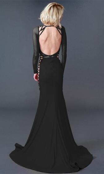 Hide And Seek Black Long Sleeve Sheer Mesh Cut Out Bandage Mermaid Gown Maxi Dress - Sold Out
