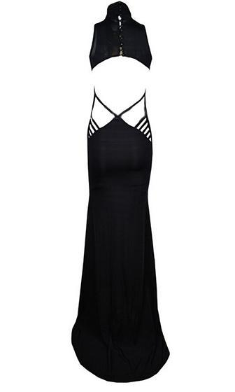 If I Ruled The World Black Sleeveless Mock Neck Open Back Cut Out Maxi Dress Gown - Sold Out