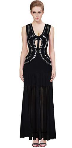 Show Stopper Black Silver Sequin Sleeveless Plunge V Neck Cut Out Sheer Pleat Maxi Dress - Inspired by Irina Shayk - Sold out