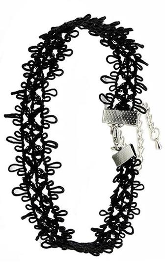 Lost Boys Black Cut Out Lace Daisy Chain Choker Necklace