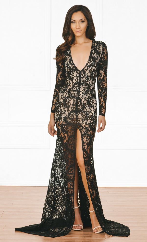 53d6a90f24 Indie XO Modern Romance Black Nude Lace Long Sleeve Plunge V Neck High  Front Slit Maxi