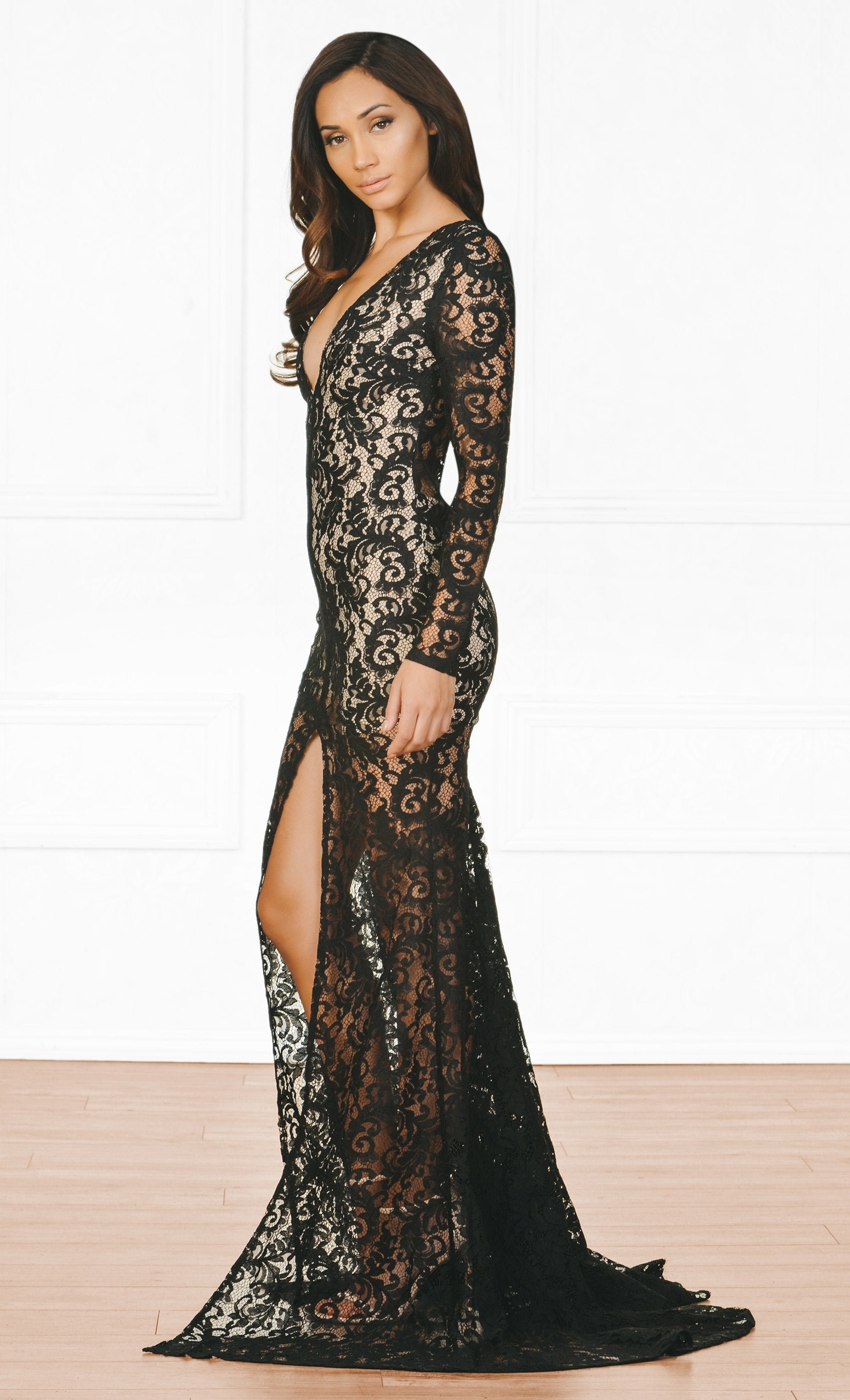 Indie XO Modern Romance Black Nude Lace Long Sleeve Plunge V Neck High Front Slit Maxi Dress