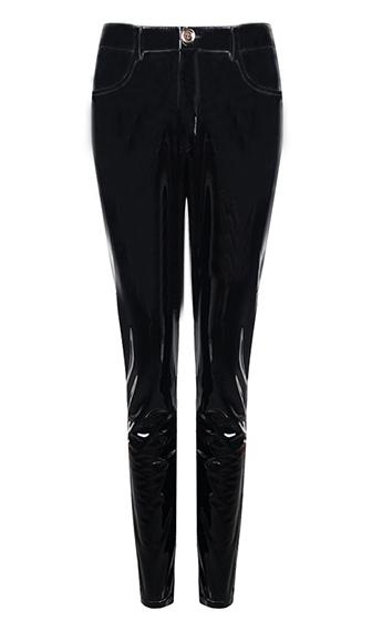 Too Slick Black PU Patent Faux Leather Skinny Button Pant
