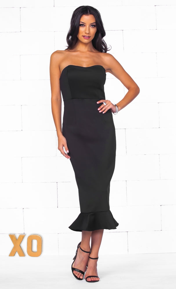 Indie XO Captivating Allure Black Strapless Fishtail Sexy Zip Back Bodycon Midi Dress - Just Ours! - Sold Out