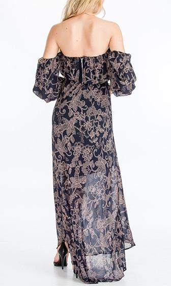 Diva Dreams Black Floral Long Sleeve Off The Shoulder Maxi Dress  - Sold Out