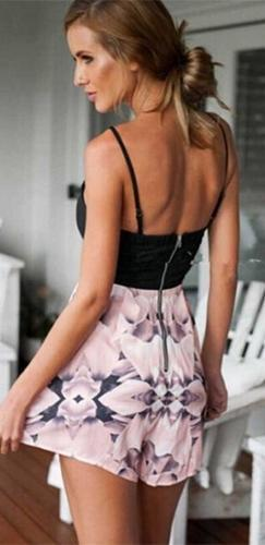 Harness The Power Black Pink Grey Floral Spaghetti Strap Cut Out Top Pleated Short Romper - Sold Out