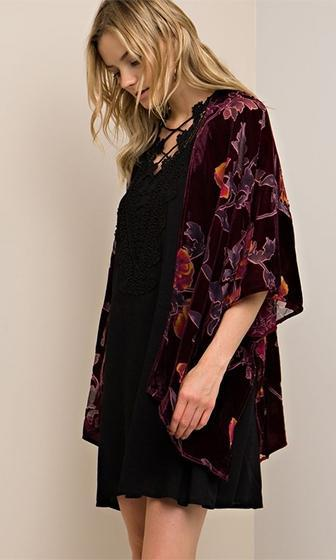 Call Me Stevie Black Floral Burnout Velvet 3/4 Sleeve Open Kimono Top (Pre-Order) - Sold Out