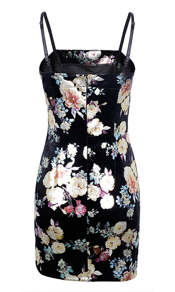 Heating Up Black Floral Velvet Sleeveless Spaghetti Strap Bodycon Mini Dress - Sold Out
