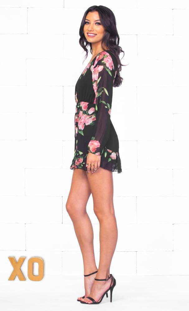 Indie XO Night Bloom Black Grey Pink Green Floral Long Sleeve Cross Wrap V Neck Romper - Just Ours! - Sold Out