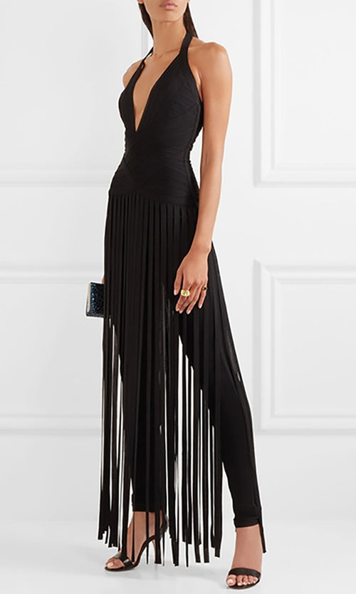 Slashing Out Black Sleeveless Plunge V Neck Halter Fringe Bandage Jumpsuit