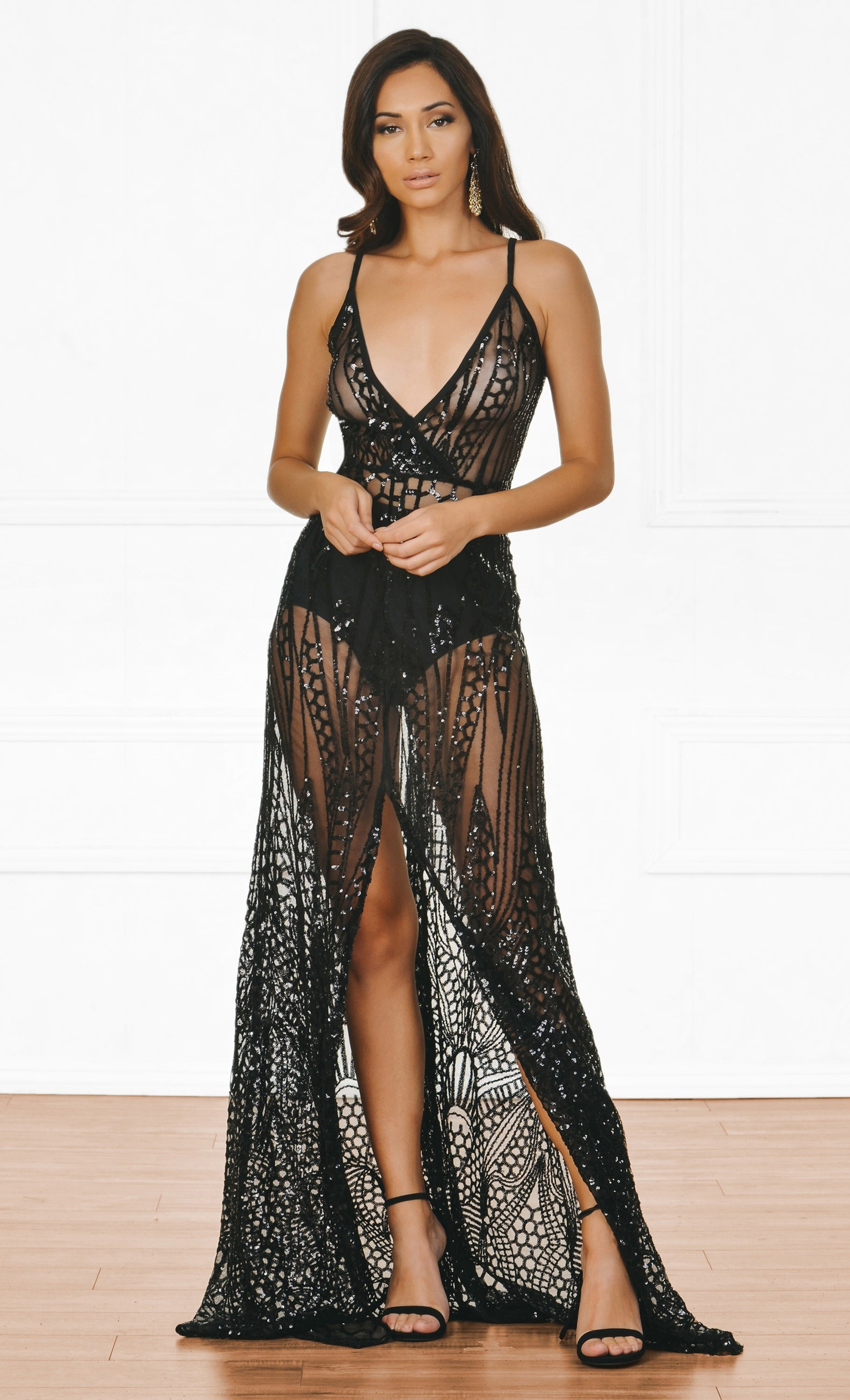 Indie XO Cause A Scandal Black Sheer Glitter Geometric Sleeveless Spaghetti Strap Deep V Neck Double Split Maxi Dress