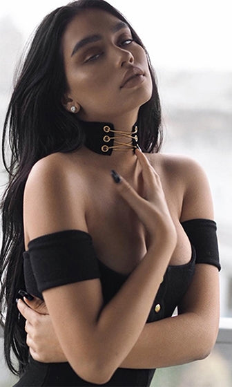 Treasure Chest Black Suede Gold Chain Lace Up Choker Necklace