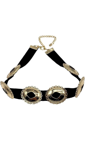 Make Your Mark Black Gold Medallion Leather Choker Necklace