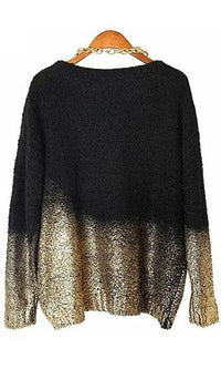 Gold Digger Black Beige Gold Metallic Long Sleeve Scoop Neck Pullover Sweater - Sold Out