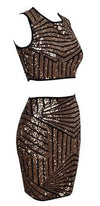Black Gold Sequin Geometric Sleeveless Scoop Neck Crop Top Bodycon Midi Skirt Two Piece Dress - Sold Out