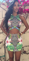 In The Tropics Black White Green Yellow Pink Blue Geometric Stripe Floral Sleeveless Scoop Neck Cut Out Crop Bodycon Two Piece Mini Dress - Sold Out