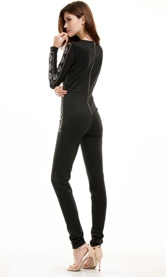 Over The Limit Black Grey Geometric Long Sleeve V Neck Skinny Jumpsuit
