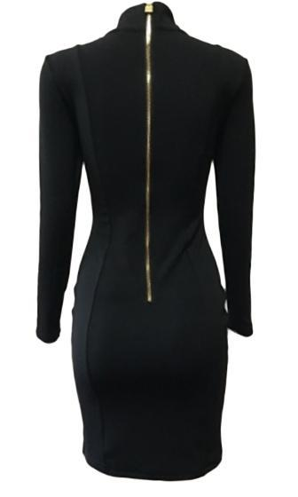 High Profile Black Gold Geometric Grommet Long Sleeve Turtleneck Bodycon Mini Dress - Inspired by Christie Brinkley - Sold Out