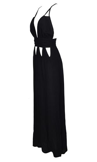 Pop Artist Black Sleeveless Spaghetti Strap Cut Out Plunge V Neck Halter Maxi Casual Dress
