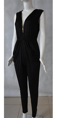 Rooftop Rendezvous Black Sleeveless Plunge V Neck Zipper Trim Drape Pocket Harem Pant Jumpsuit - Sold Out