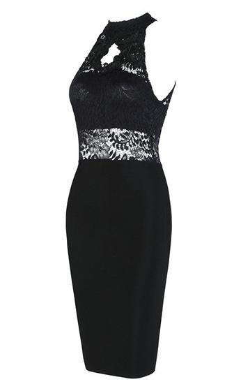 Angel Kisses Black Lace Sleeveless Mock Neck Halter Bodycon Bandage Midi Dress - Sold Out