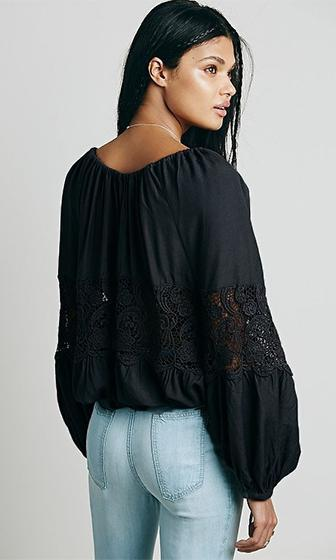 Lost Stars Black Long Bat Sleeve V Neck Sheer Lace Gathered Chiffon Blouse - Sold out