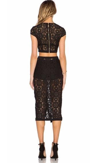 Eyes Wide Shut Black Sheer Lace Short Sleeve Crew Neck Crop Button Skirt Two Piece Bodycon Bandage Midi Dress