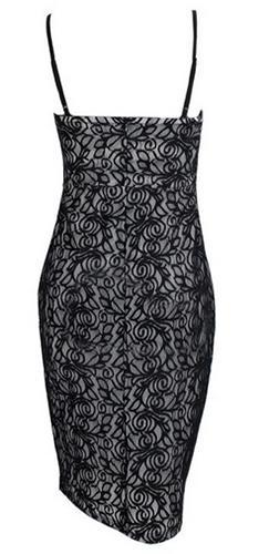Glamourous Amour Black Grey Lace Spaghetti Strap Cut Out Waist Bodycon Midi Dress - Sold Out